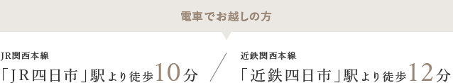 電車でお越しの方 JR関西本線「JR四日市」駅より徒歩10分 近鉄関西本線「近鉄四日市」駅より徒歩12分